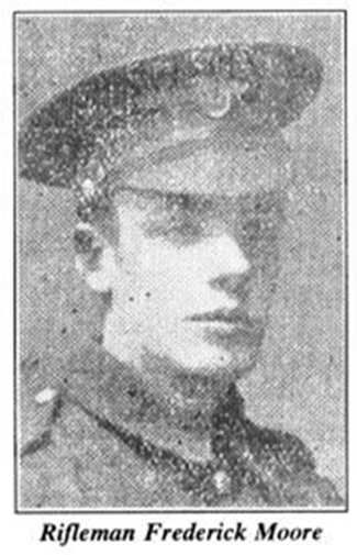 Frederick Moore enlisted on the formation of the 36th (Ulster Division) in Banbridge, joining D Company, 13th Royal Irish Rifles. - pic00646