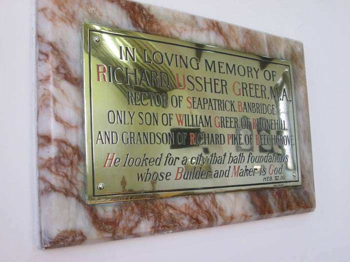 George Ussher Greer Plaque Newmills Church